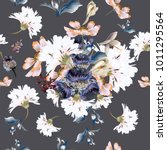 floral pattern with flowers  in ... | Shutterstock .eps vector #1011295564