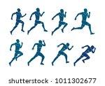 runner silhouette action. set... | Shutterstock .eps vector #1011302677