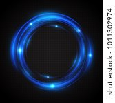 Blue Neon Glow Rings. A Bright  ...