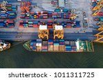 aerial view of containers yard... | Shutterstock . vector #1011311725