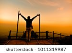silhouettes the happy tourist... | Shutterstock . vector #1011319987