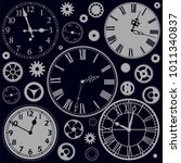 set of clock faces with parts... | Shutterstock .eps vector #1011340837