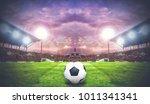 soccer ball on green field of...   Shutterstock . vector #1011341341