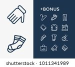 towel and clothes icon line set ... | Shutterstock .eps vector #1011341989
