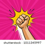 punch  raised up clenched fist... | Shutterstock .eps vector #1011345997