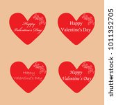 red hearts with pattern for... | Shutterstock .eps vector #1011352705