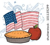 Doodle style apple pie with colorful American flag sketch in vector format - stock vector