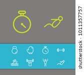 fitness icons set with athlete  ...   Shutterstock . vector #1011357757