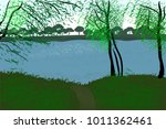 Vector River Landscape. Trees...
