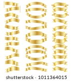 set of realistic gold ribbon... | Shutterstock .eps vector #1011364015