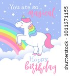 cute unicorn standing on the... | Shutterstock .eps vector #1011371155