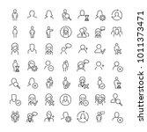 set of premium human icons in... | Shutterstock .eps vector #1011373471