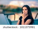 sad anxious woman traveling on...   Shutterstock . vector #1011373981