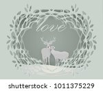 abstract background with deer... | Shutterstock .eps vector #1011375229