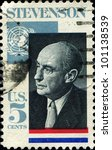 Small photo of UNITED STATES OF AMERICA - CIRCA 1970 : A stamp printed in USA shows Adlai Stevenson American politician, circa 1970
