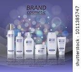 3d realistic cosmetic bottle... | Shutterstock .eps vector #1011385747