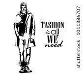 vector man model dressed | Shutterstock .eps vector #1011386707