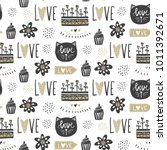 vector cute seamless pattern.... | Shutterstock .eps vector #1011392671