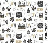 vector cute seamless pattern.... | Shutterstock .eps vector #1011392671