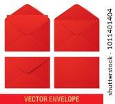 set of red vector envelopes in... | Shutterstock .eps vector #1011401404