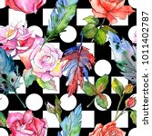watercolor bird feather pattern ... | Shutterstock . vector #1011402787