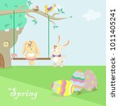 easter bunnies illustration | Shutterstock .eps vector #1011405241