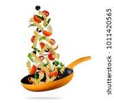 concept of flying food... | Shutterstock . vector #1011420565