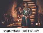 medieval knight on guard in... | Shutterstock . vector #1011423325