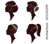 hairstyles  beautiful women and ... | Shutterstock . vector #101142349