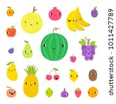 cute funny fruits and berries.... | Shutterstock .eps vector #1011427789