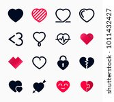 heart symbol set for valentines ... | Shutterstock .eps vector #1011432427