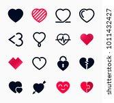 heart symbol set for valentines ... | Shutterstock .eps vector #1011432427