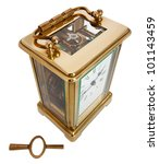 Antique Carriage Clock with Roman Numerals and key - stock photo