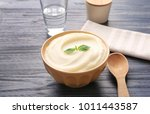 bowl with mashed potatoes on... | Shutterstock . vector #1011443587
