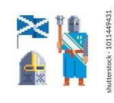knight. pixel art character.... | Shutterstock .eps vector #1011449431