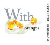 yoghurt with oranges | Shutterstock .eps vector #1011451564