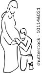 simple sketch of pregnant lady... | Shutterstock .eps vector #101146021
