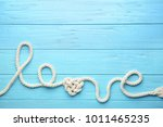 Word Love Made Of Rope On Blue...