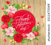 valentines day lettering with... | Shutterstock .eps vector #1011475549