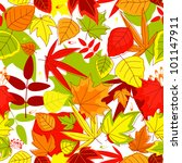 Autumnal seamless pattern with yellow, red, green and red leaves. Jpeg version also available in gallery - stock vector