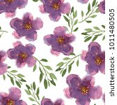floral seamless pattern with... | Shutterstock . vector #1011480505