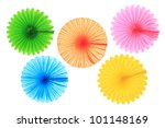 Colorful Paper Fans Isolated O...