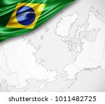 brazil flag of silk  and world... | Shutterstock . vector #1011482725