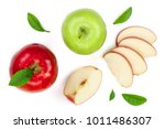 red and green apples with... | Shutterstock . vector #1011486307