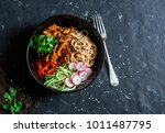 asian spicy fried chicken in a... | Shutterstock . vector #1011487795