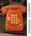 red or orange vintage home... | Shutterstock . vector #1011489499