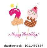 happy birthday card. festive... | Shutterstock .eps vector #1011491689