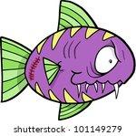 Crazy Insane Fish Vector Illustration - stock vector