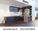 modern kitchen interior design. ... | Shutterstock . vector #1011492865