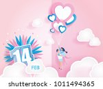 lovely joyful couple and... | Shutterstock .eps vector #1011494365